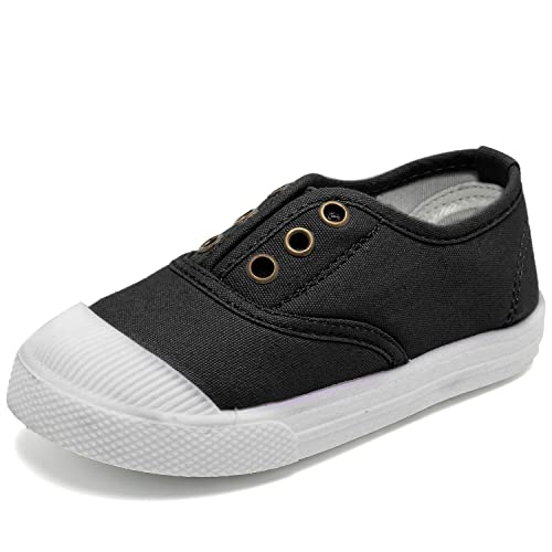 bc9569380a59 Kids Canvas Sneaker Slip-on Baby Boys Girls Casual Fashion shoes-Black-21N1