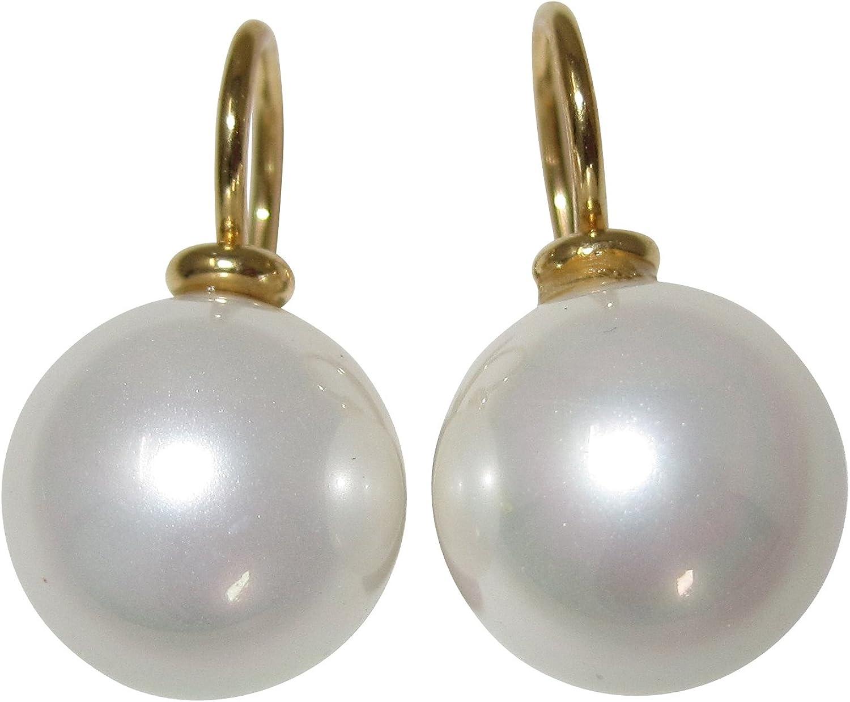 Ohrringe aus MuschelkernPerlen 10mm in Südsee-Gold 925er Silber vergoldet