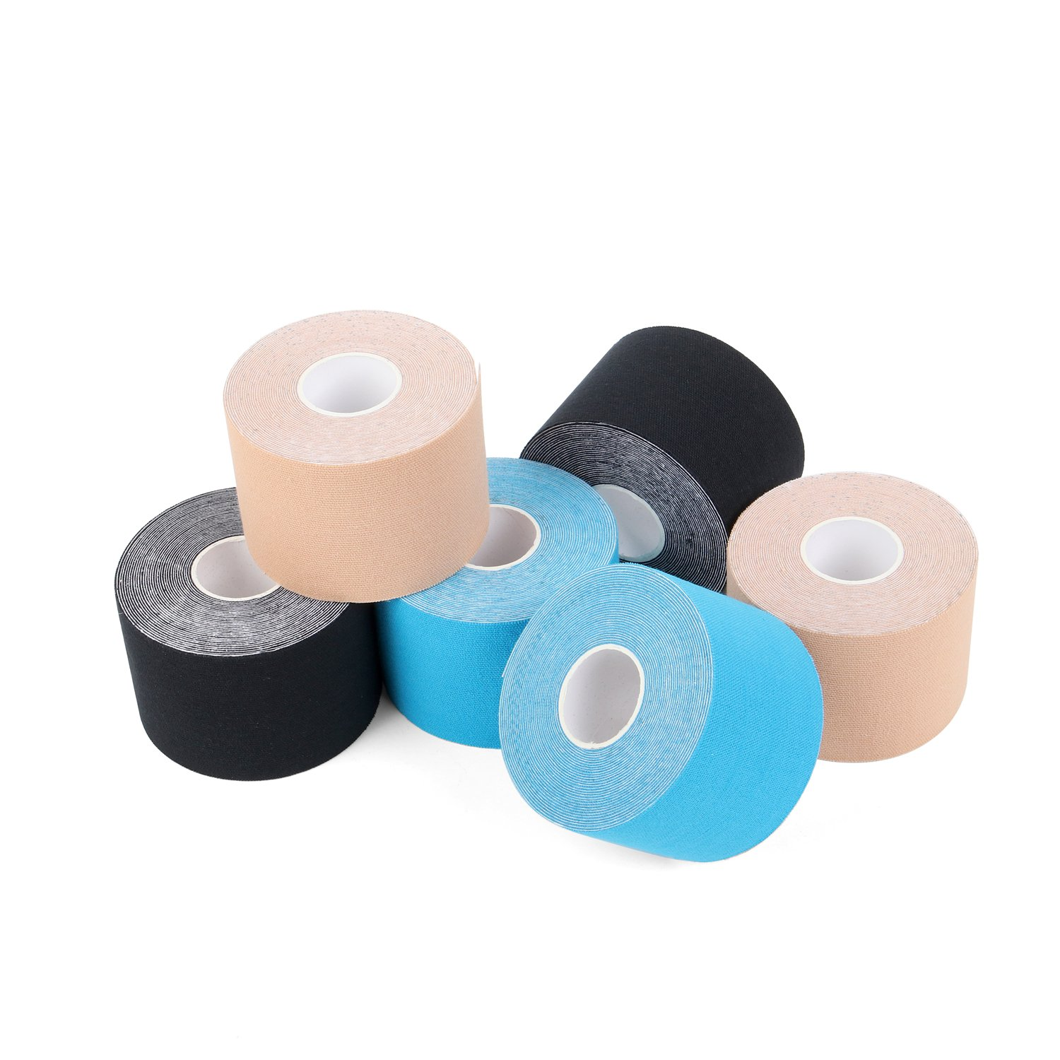 Pain Relief Elastic Sports Tape for Athletic Sports Recovery and Physio Therapy 6 Rolls Pack Superbe Kinesiology Tape 2 Inch x 16.4 feet