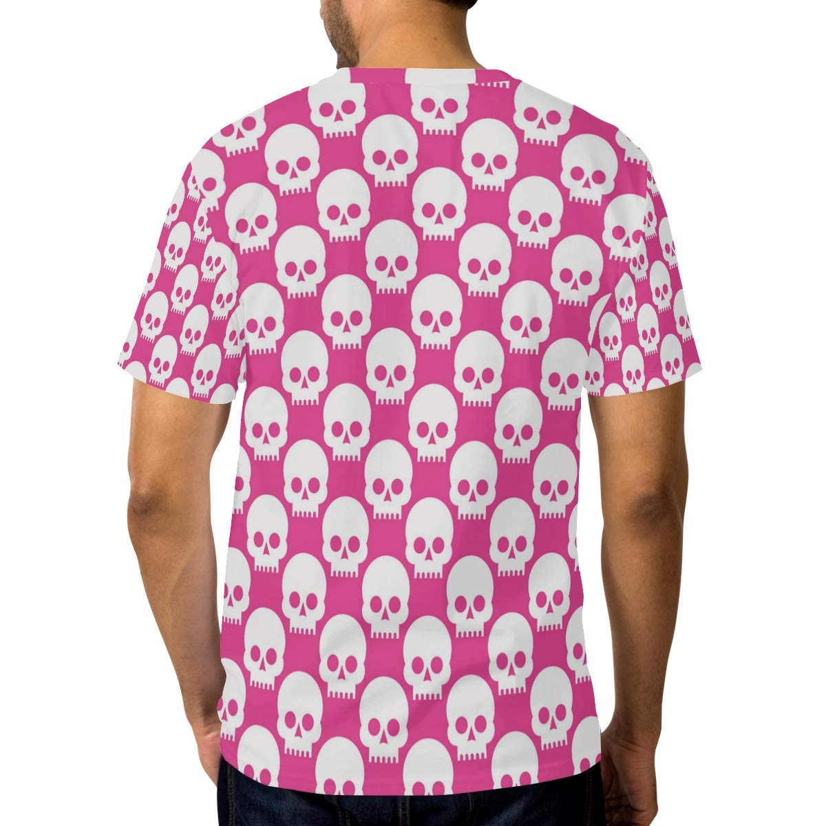 Horatiood Huberyyd Pink Cute Rose Skull Mens T Shirts Graphic Funny Body Print Short T-Shirt Unisex Pullover Blouse
