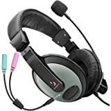 Etekcity Professional Lightweight Wired Over Ear Stereo PC Headset Headphones with Microphone (Black/Gray)