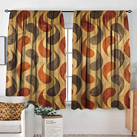 Amazon.com: PriceTextile Rustic,Kitchen Curtains Tiling Wavy ...