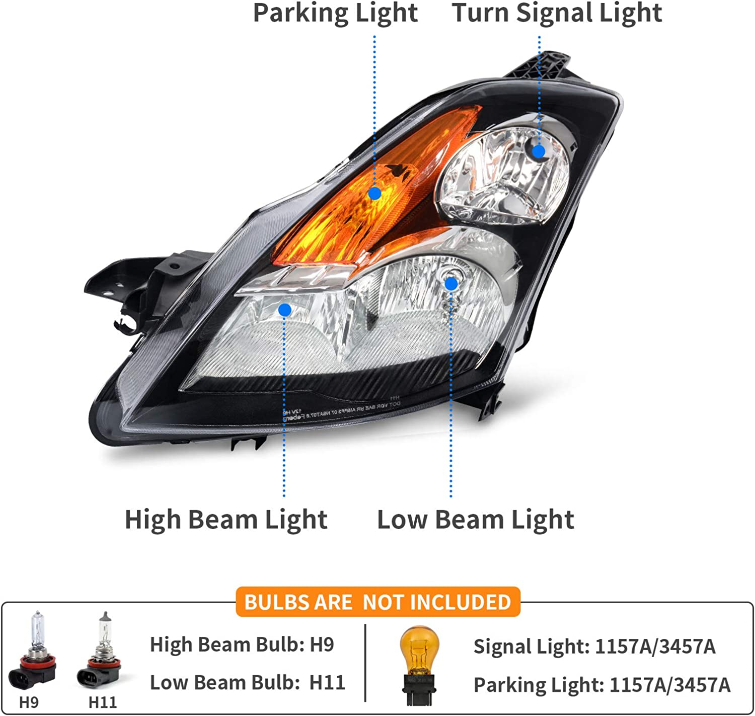 DWVO Headlight Assembly Compatible with Nissan Altima 4-Door Sedan ...