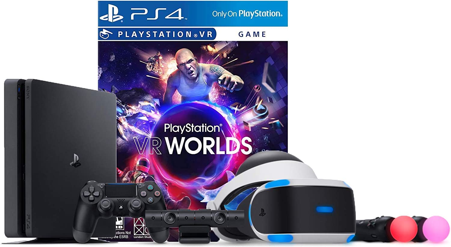 PlayStation VR Launch Bundle 2 Items VR Launch Bundle, Sony PlayStation4 Slim 1TB Console- Jet Black