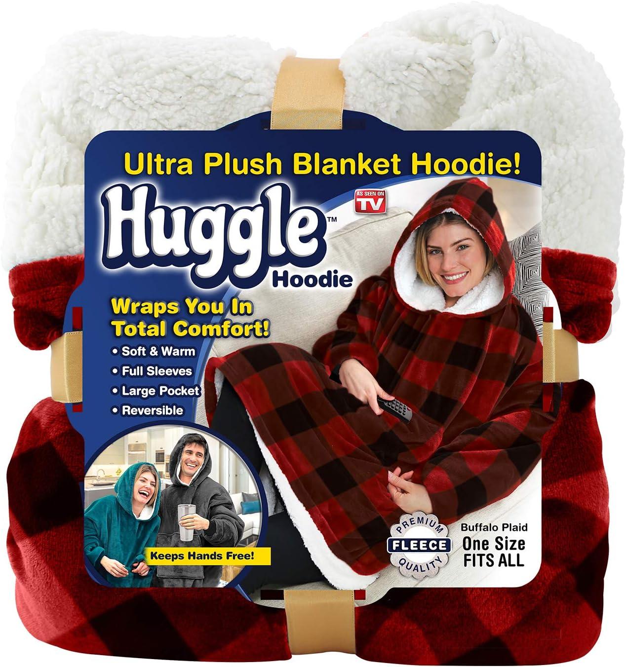 Ontel Huggle Hoodie, Ultra Plush Blanket, Charcoal Grey, One Size: Health & Personal Care