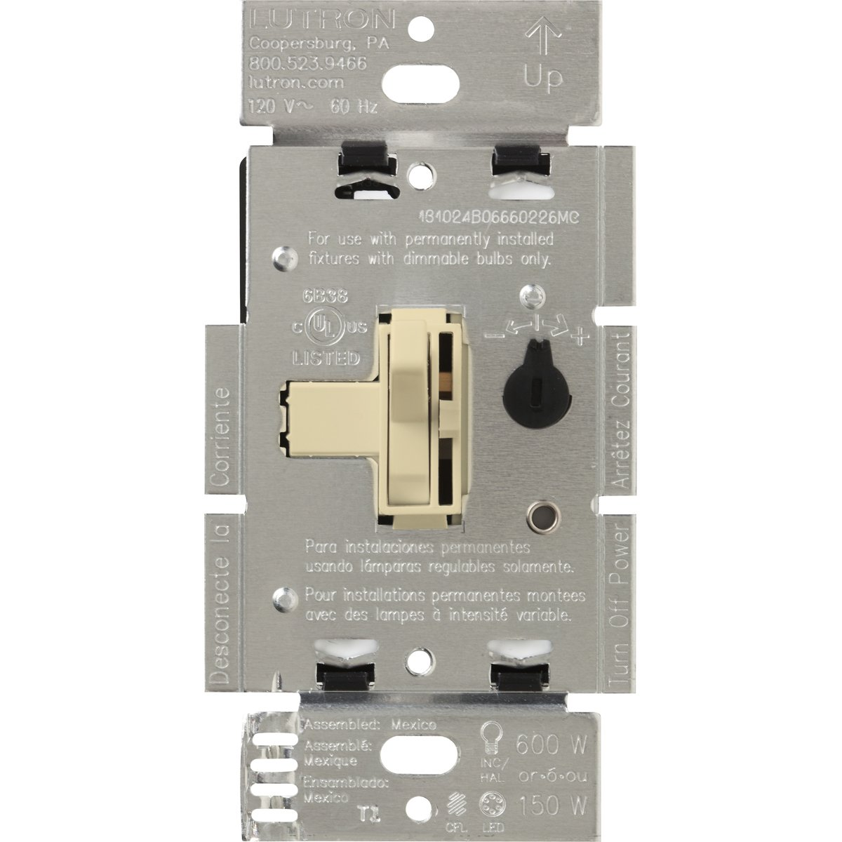 Lutron Toggler C.L Dimmer Switch for Dimmable LED, Halogen and Incandescent Bulbs, Single-Pole or 3-Way, TGCL-153PH-IV, Ivory
