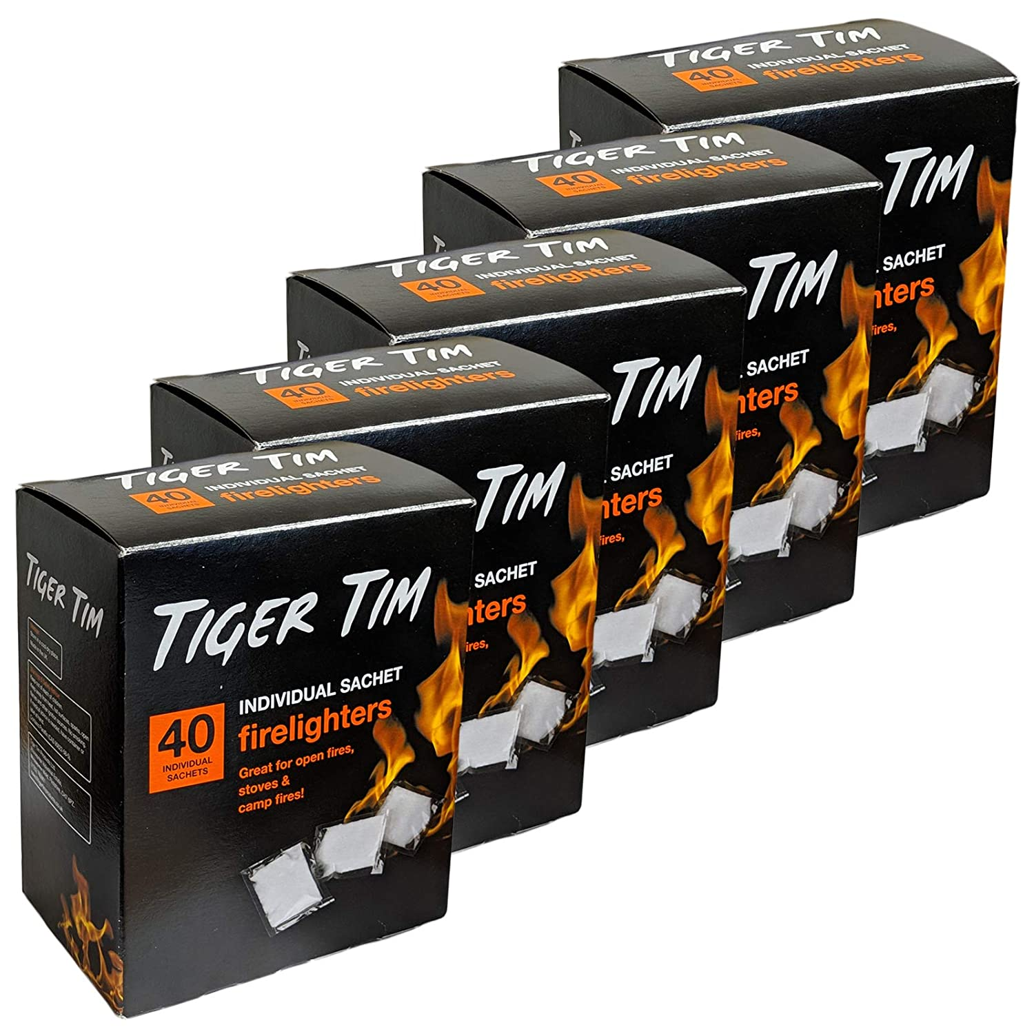 Tiger Tim 200 Sachet Firelighters Mess-Free Safe Odourless Instant Fire Starter for Wood Burners Barbecues Stoves Grills Campfires