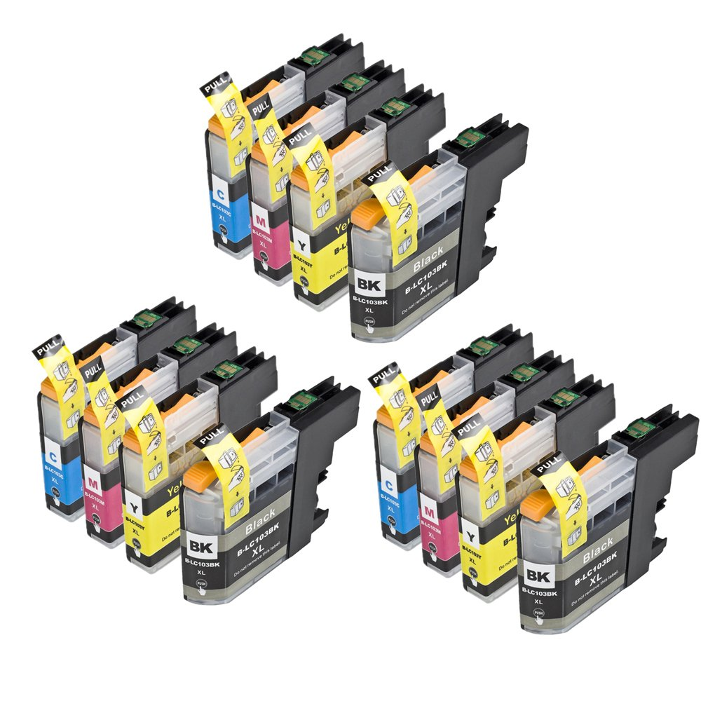 RIGHTINK 12 Pack Compatible Ink Combo Set for Brother LC103 LC103XL for Brother MFC-J245 MFC-J285DW MFC-J450DW Printers