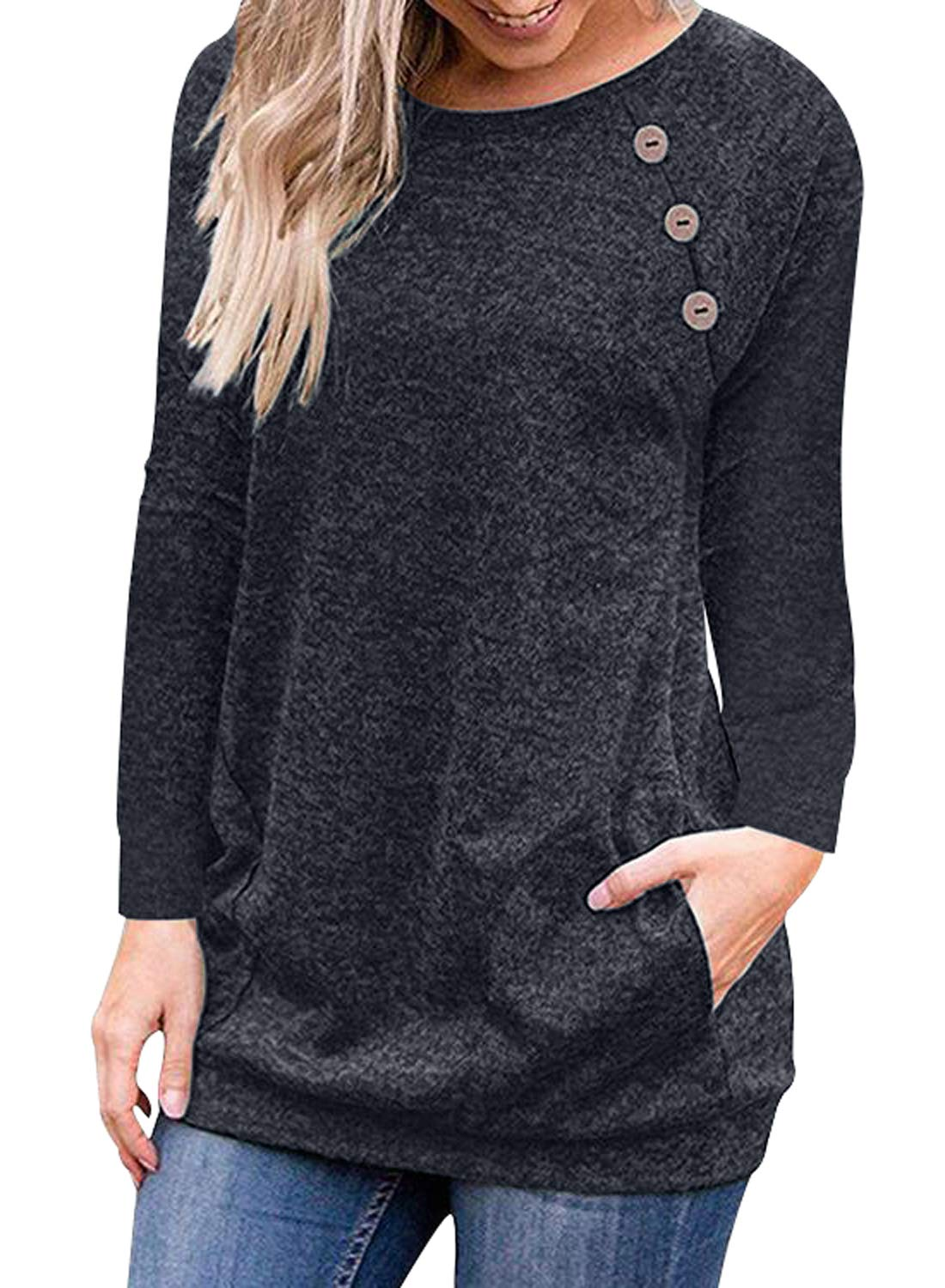 FIYOTE Womens Casual Short/Long Sleeve Round Neck Tunic Tops Loose Long T Shirt Blouses