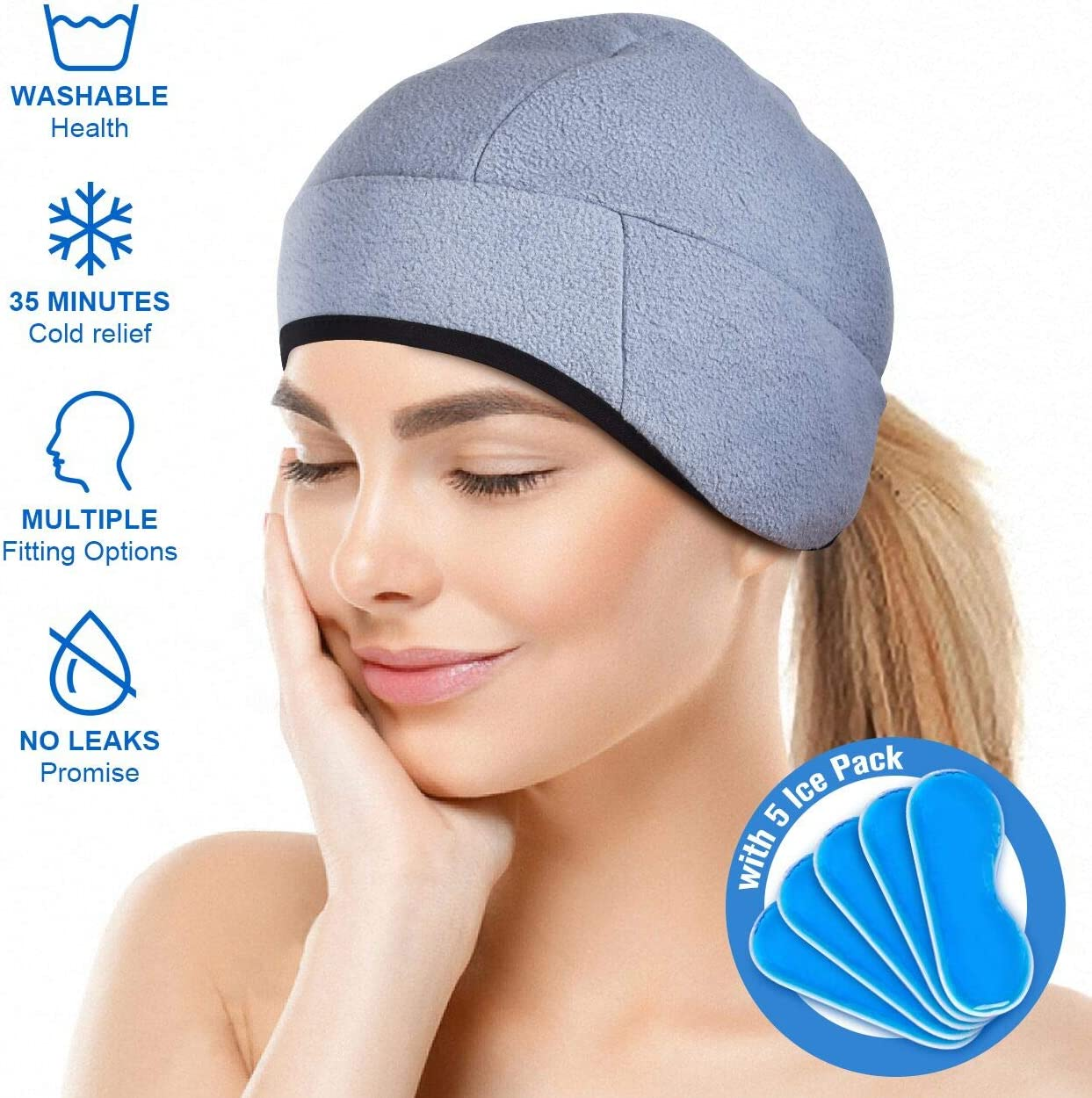 Headache and Migraine Relief Cap,A Headache Ice Hat for Migraine Headaches and Tension Relief,Adjustable, Grey, Comfortable, Long Cool