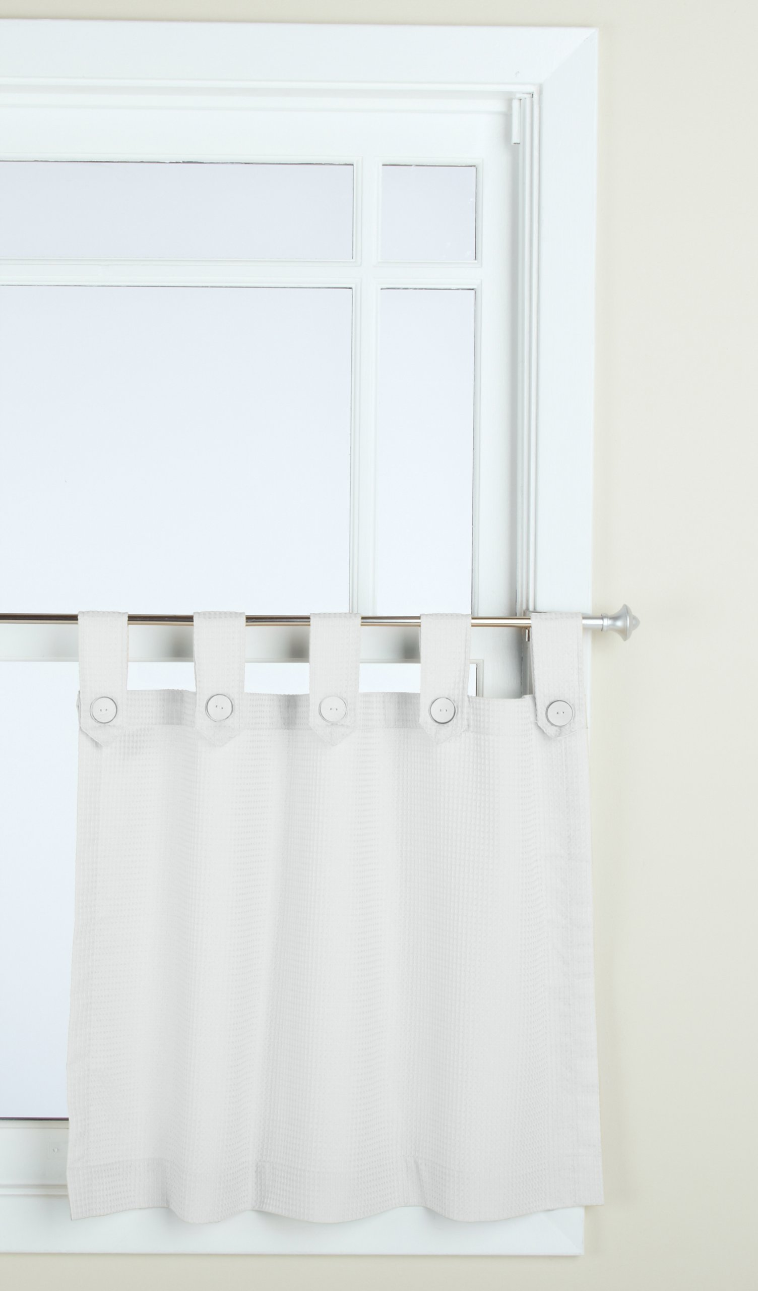 GPD Newport 60 Inch X 24 Inch Button Tab Top Tier Curtain Pair, White