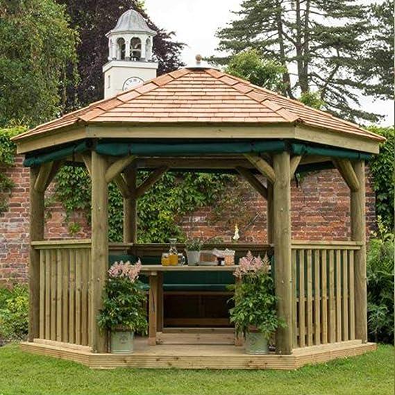 Carpa de jardín de 3 m de madera tratada a presión hexagonal con techo de cedro de Nueva Inglaterra: Amazon.es: Jardín