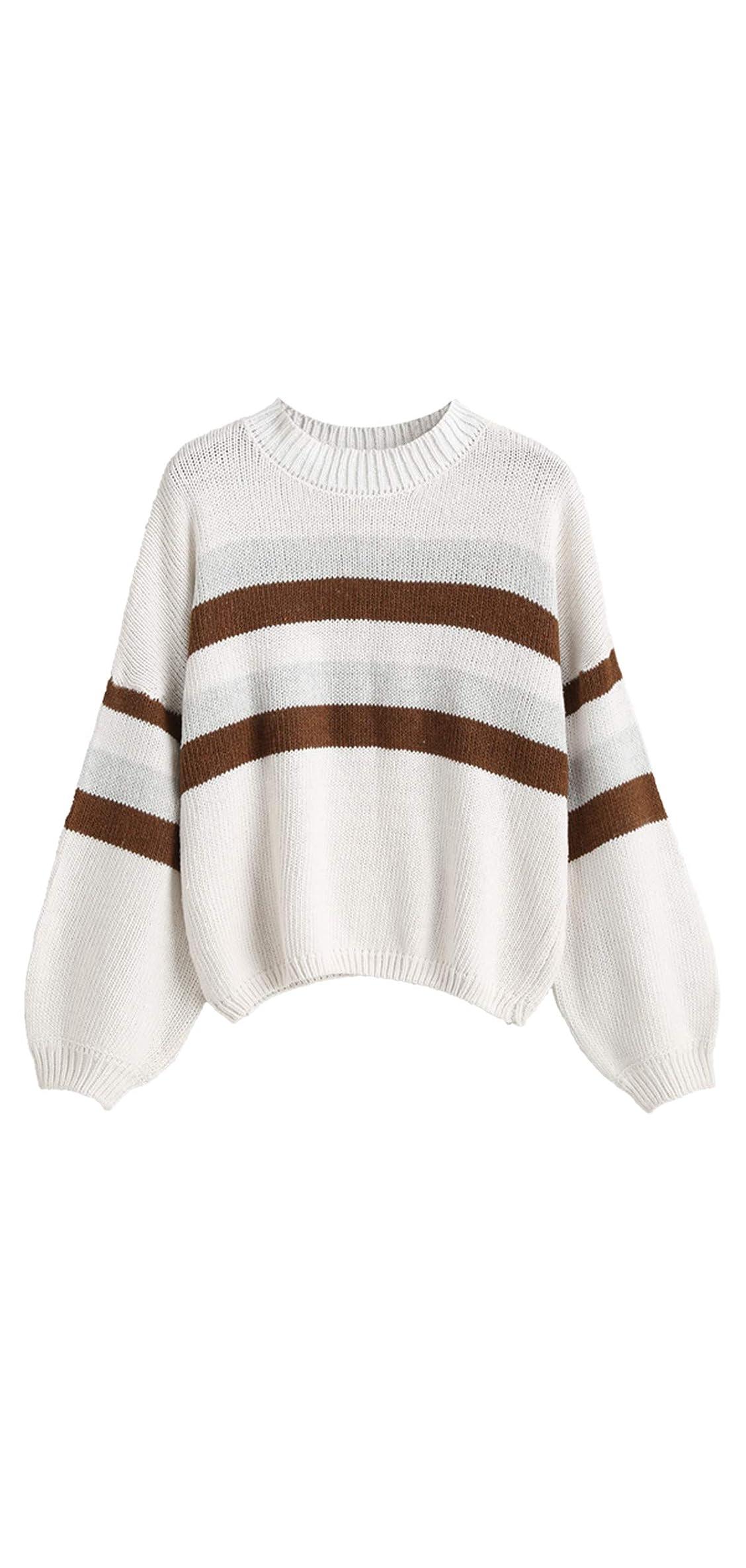Women's Lantern Sleeve Striped Sweater Crewneck Knit Tops