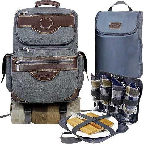 Inno Stage - Mochila para pícnic térmica para 4, senderismo y acampada, con manta de pícnic ofrecida, bolsa térmica de refrigeración separada, juego ...