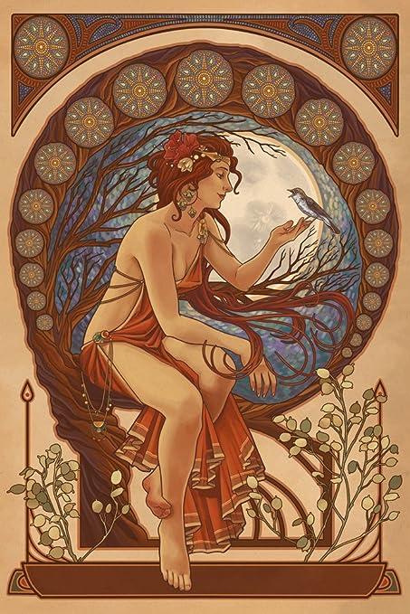 Woman and Bird , Art Nouveau (9x12 Fine Art Print, Home Wall Decor Artwork  Poster)