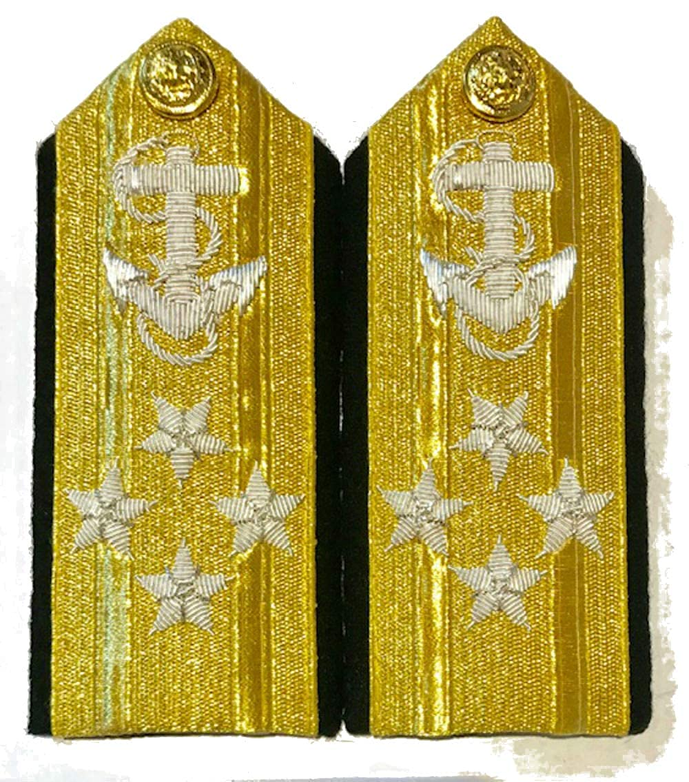 NEW US NAVY HARD SHOULDER BOARDS 4 STARS MALE LINE ADMIRAL RANK Hi Quality CP MADE PAIR
