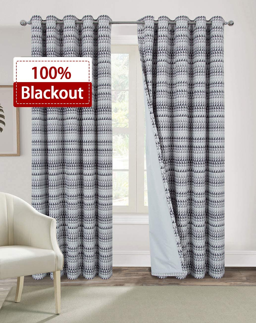Alexandra Cole 100 Blackout Chenille Curtains for Bedroom Thermal Insulated Window Curtains 95 Inch Length Kid Curtains with Triangle Geometric Pattern 2 Panels Grey