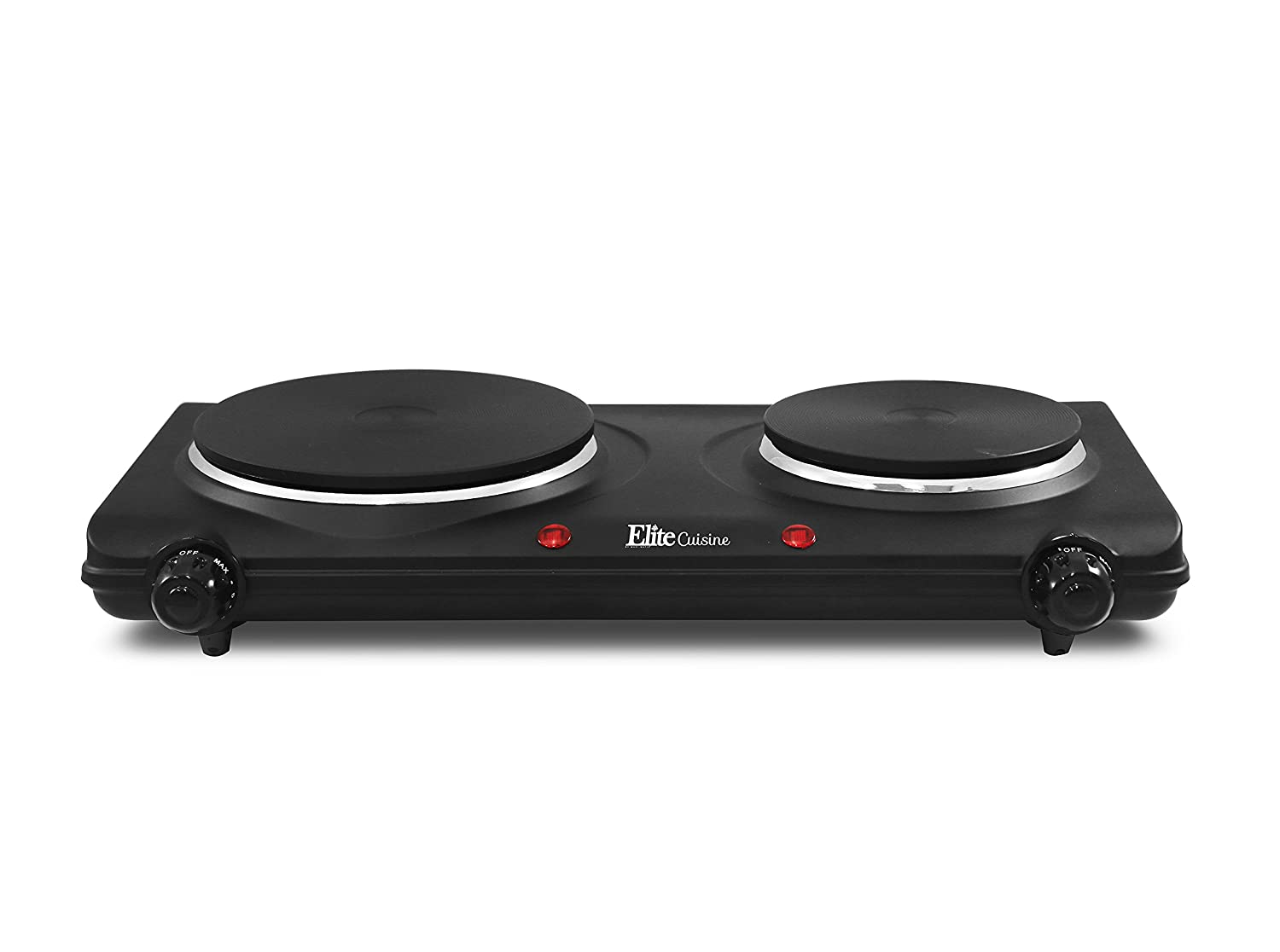 Elite Cuisine EDB-302BF Double Electric Hot Plate Burner Dual Temperature Controls, Power Indicator Lights, Easy To Clean 1440 Watts Black