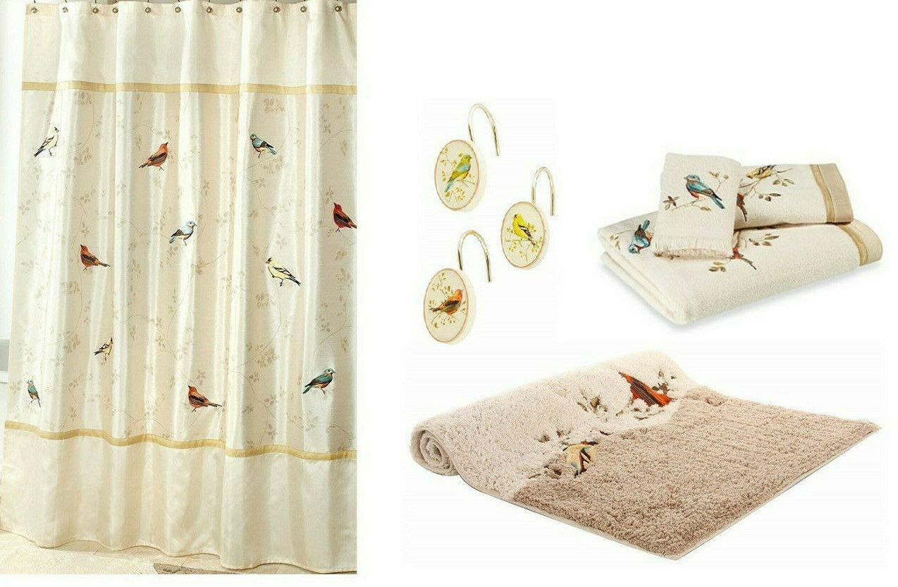 Avanti Linens Gilded Birds Shower Curtain, 12 Shower Hooks, Bath Rug and 3 Piece Towel Set