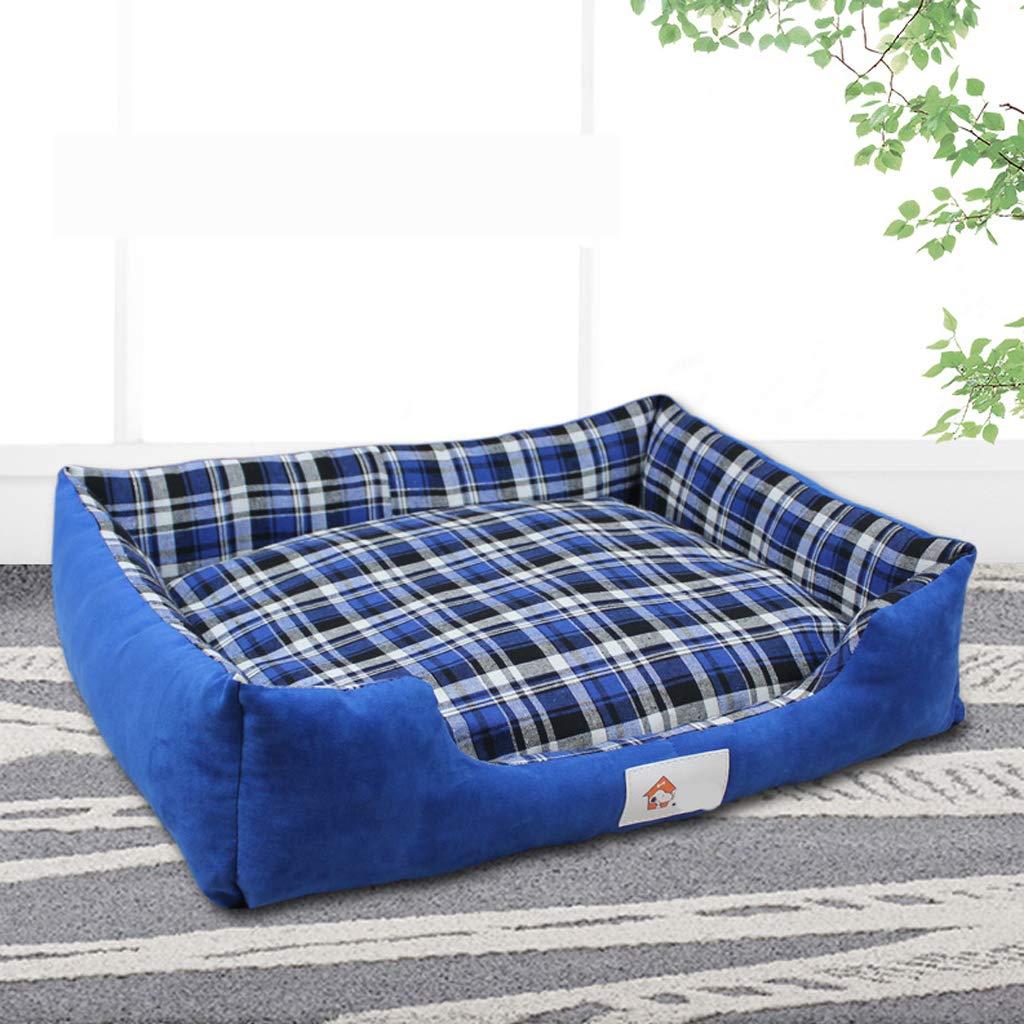 bluee 6055cmPet nest, removable and washable PP cotton four seasons universal plaid cat dog mattress, 3colors   4 sizes