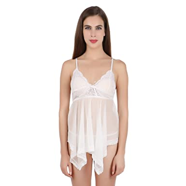 2344fb06983 FIHA Babydoll Sexy Night Dress Lingerie Nighty for Women Nightwear (White)  (RIOE-BD-XL401-WH)  Amazon.in  Clothing   Accessories