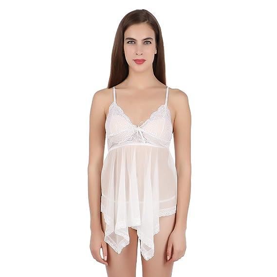 6c9444173c FIHA Babydoll Sexy Night Dress Lingerie Nighty for Women Nightwear (White)  (RIOE-BD-XL401-WH)  Amazon.in  Clothing   Accessories