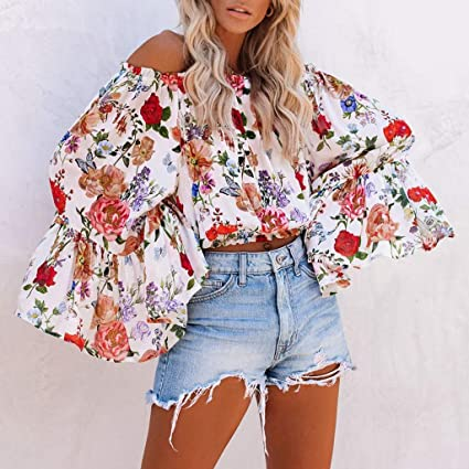 Eoeth Women Spring New Wave Point Flower Ruffle Sleeve Crop Tops Navel Blouse Shirts Loose T-Shirts Pullover