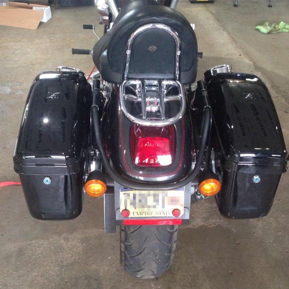 New Hard Saddle bags Saddlebags w/ mounting kits Fit Honda Shadow Kawasaki Vulcan VN Black by EGO BIKE