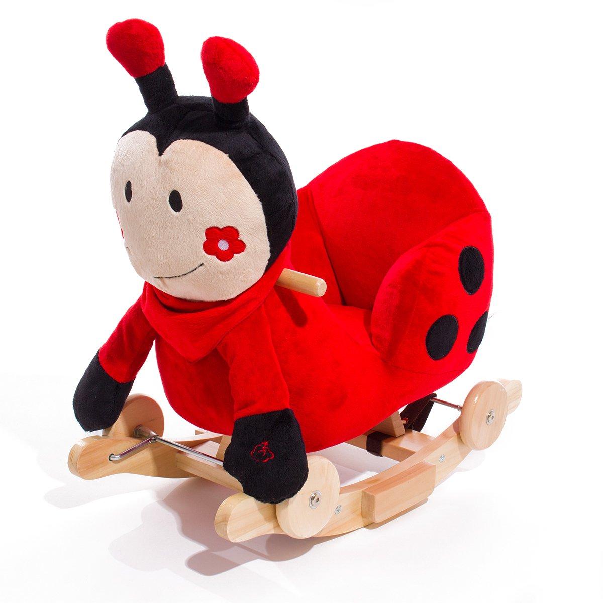 Hikenn Kinderkraft Schaukelpferd Schaukeltier Schaukel Schaukelspielzeug Babyschaukel (Marienkäfer)