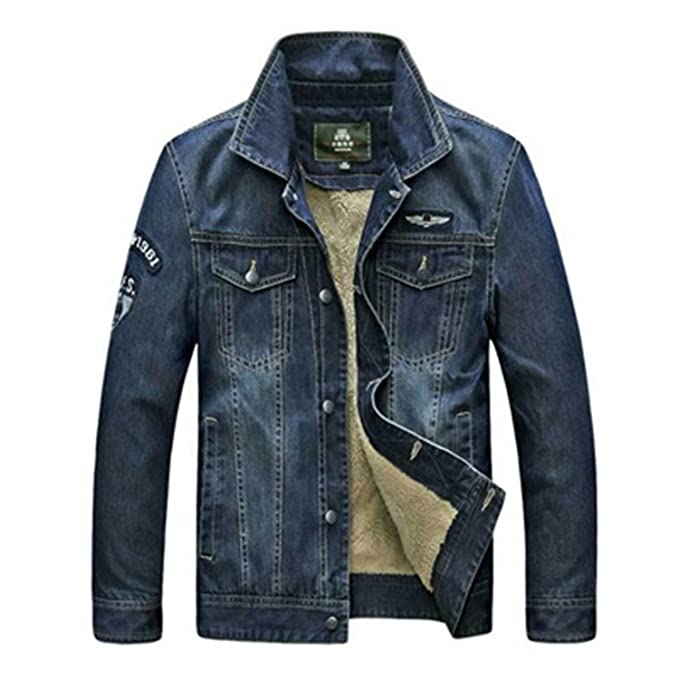 Yaha see there New Denim Jacket Men Thick Warm Fleece Jeans Coat Male Casual Fashion Single