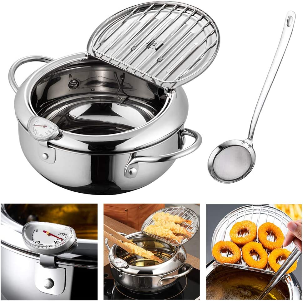 Hvanam Deep Fryer Pot With Oil Drop Tray Basket And Oil Thermometer Japanese-Style Tempura Small Mini Fryers, For The Home Fry Chicken, Chips, Fish And Shrimp(304 Stainless Steel 2.2L With Food mesh spoon)