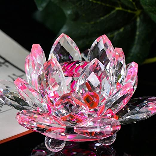 Hot Sale!!1PC Lotus Crystal Glass Collection Lotus Figure Paperweight A