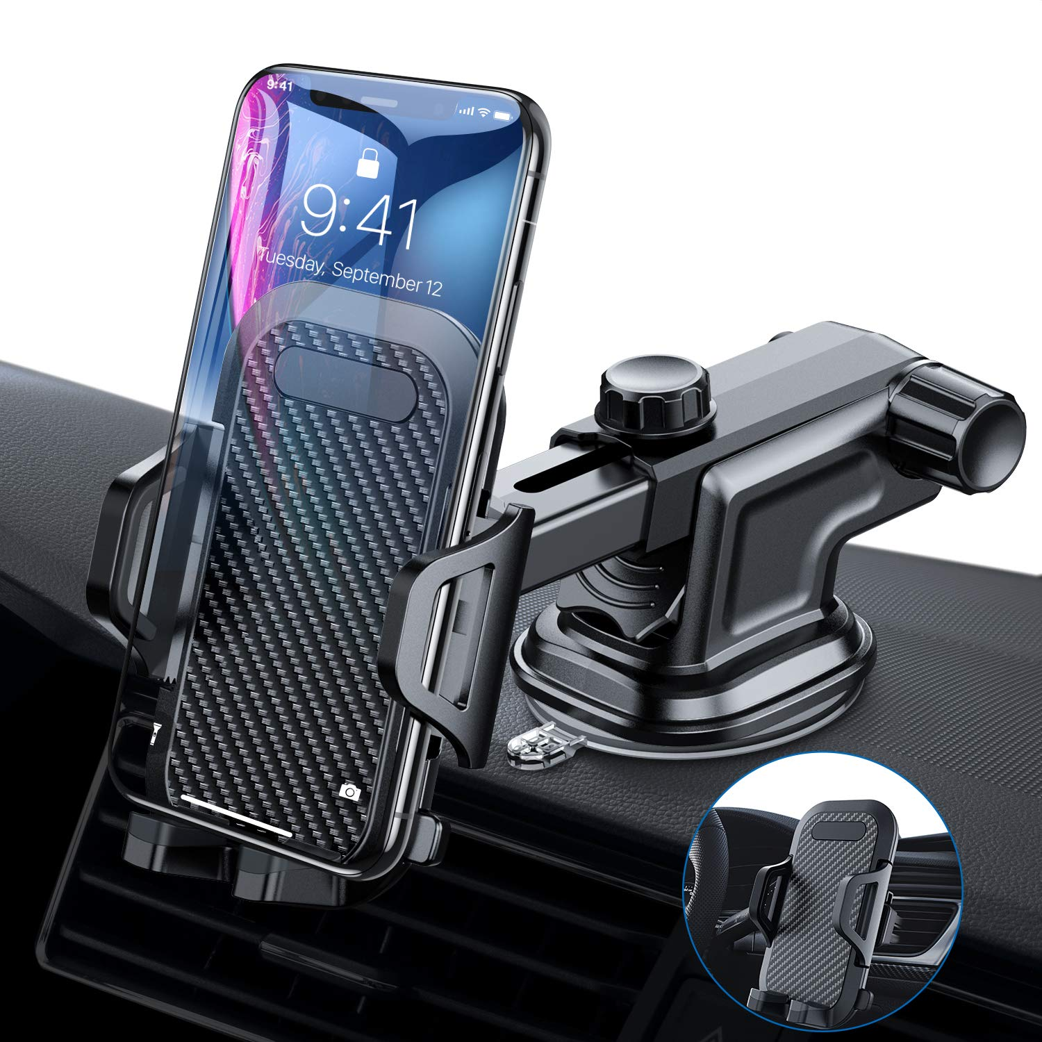 VANMASS Car Phone Mount, Dashboard Windshield Air Vent Cell Phone Holder for Car with Vent Clip & Dashboard Pad, Strong Sticky Suction, One Button Release Car Cradle, Compatible 3.5''-6.5'' Phone & Case