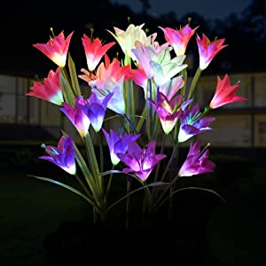 Outdoor Solar Garden Stake Lights - Doingart 6 Pack Solar Powered Lights with 24 Lily Flower, Multi-Color Changing LED Solar Decorative Lights for Garden Patio Backyard (Purple ,Pink and White)