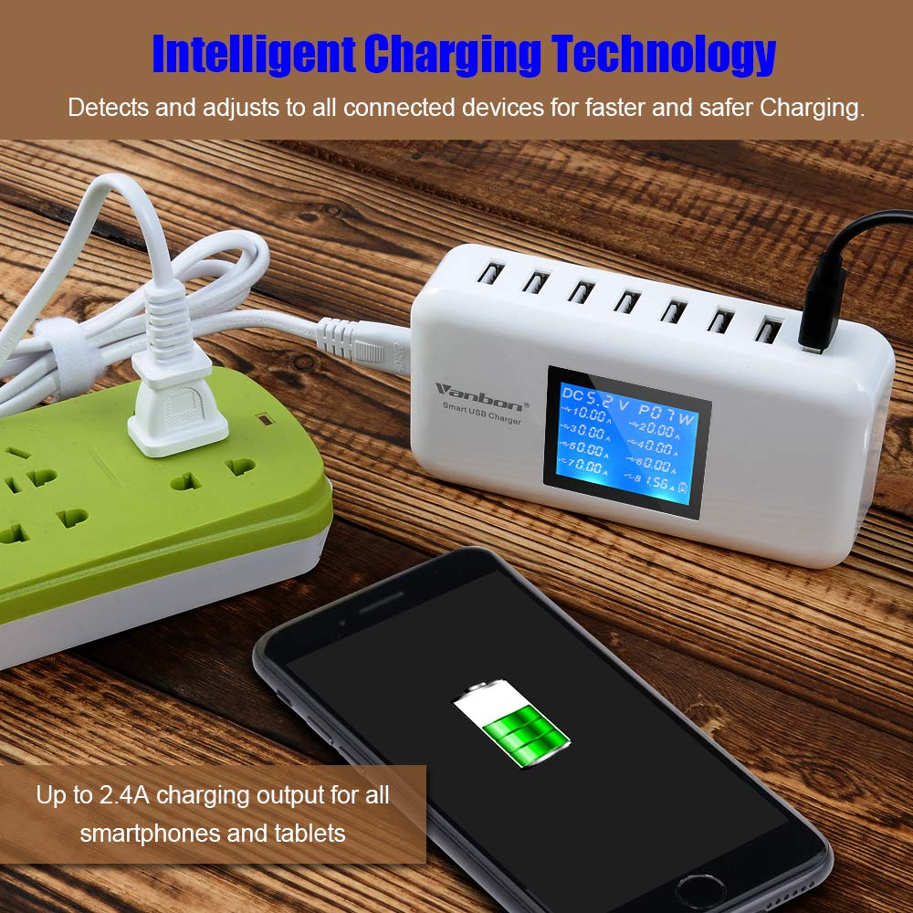 Multiple USB Charger, 60W/12A 8-Port Desktop Charger Charging Station Multi Port Travel Fast Wall Charger Hub LCD Smart Phones, Tablet More (White)