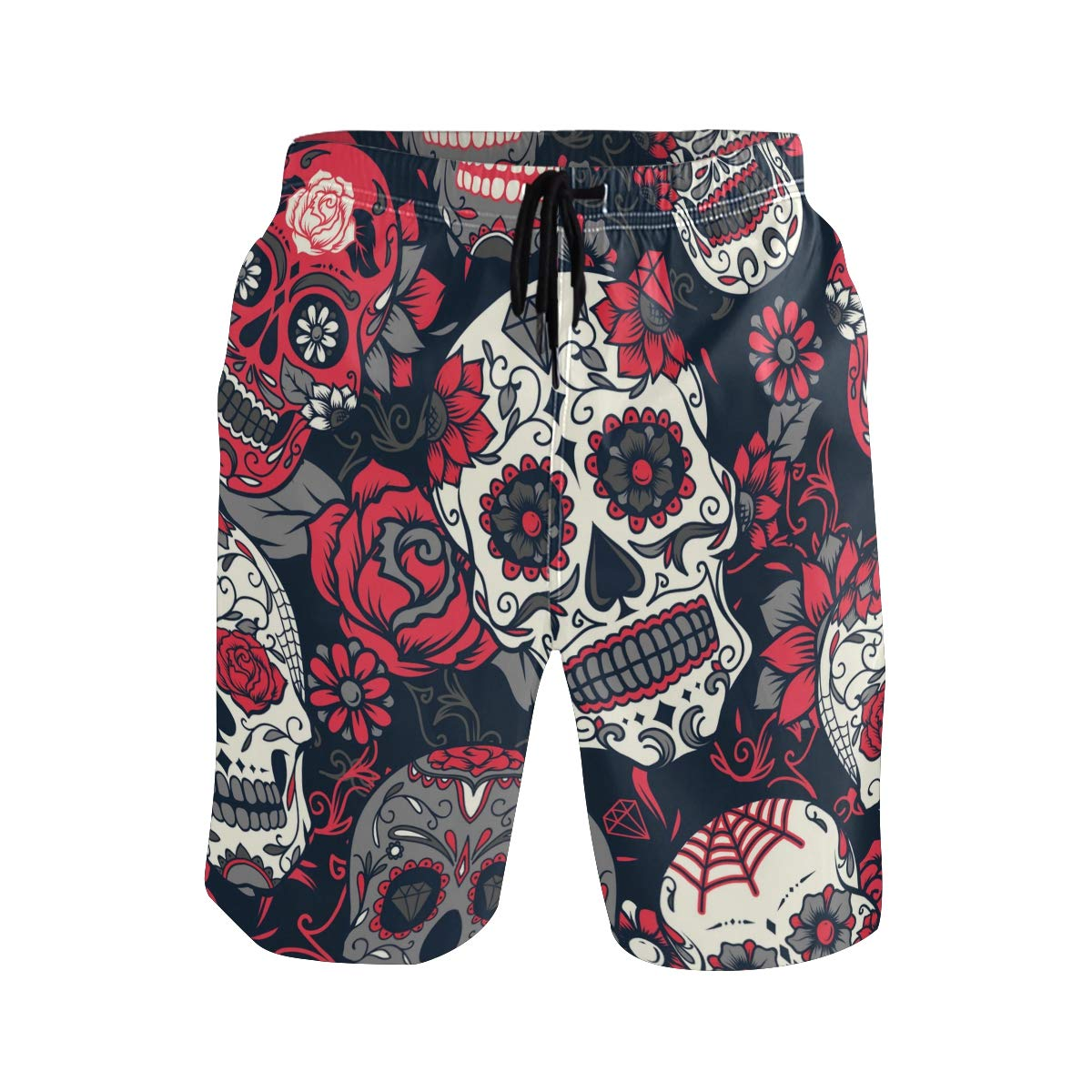 Colorful Summer Palm Trees On The White Forest Background Casual Swim Trunks All