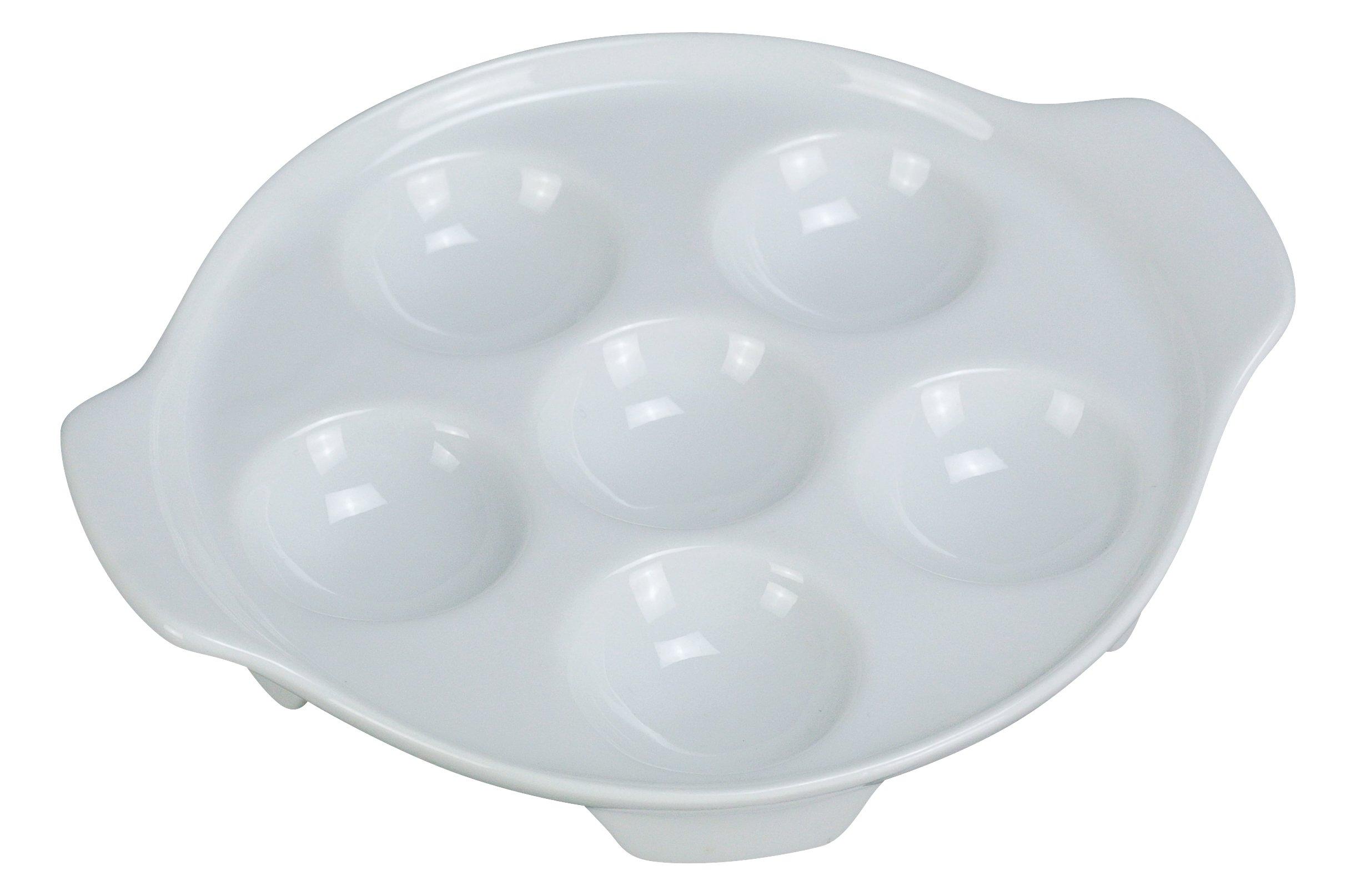 Yanco ESC-8 Escargot Dish, 6.5'' Diameter, Porcelain, Super White, Pack of 24