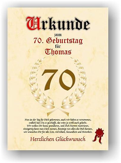 Urkunde Zum 70 Geburtstag Glückwunsch Geschenkurkunde Personalisiertes Geschenk Gedicht Grußkarte Geschenkidee Mit Spruch Din A4