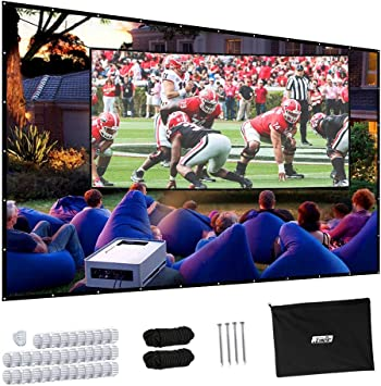 Anti-Crease, Easy to Clean 150 Inches 4:3 Portable HD Indoor Outdoor Home Cinema Theater Projection Screen BigFamily Projector Screen