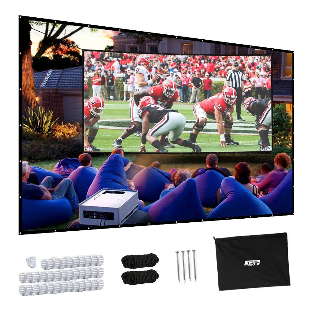 Projector Screen, Upgraded 150 inch 4K 16:9 HD Portable Projector Screen, Premium Indoor Outdoor Movie Screen Anti-Crease Projection Screen for Home Theater Backyard Movie. by JWST