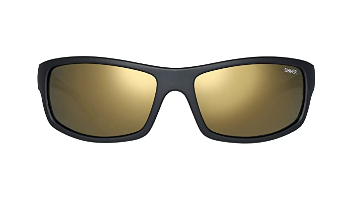 7a125593183 Sinner Monarch Matte Black Sintec Smoke Gold FL Mirror Polarized Wrap  Sunglasses  Amazon.co.uk  Clothing