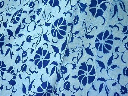 Indien Fait à la Main Indigo Bleu Tissu Imprimé Bloc Coton Robe