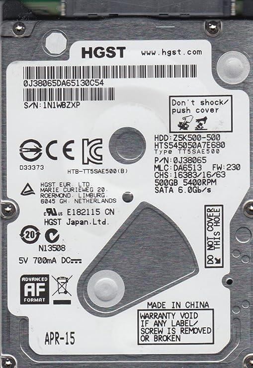 HTS545050A7E680 PN 0J38065 MLC DA6513 Hitachi 500GB SATA 2.5 Hard Drive SATA at amazon