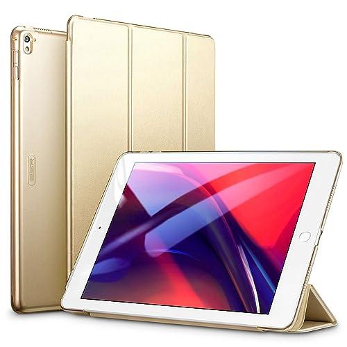 ESR iPad Pro 9.7 ケース クリア iPad Pro 9.7 カバー レザー PU スタンド機能 スリム傷つけ防止 オートスリープ ハード 三つ折タイプ iPad Pro 9.7 インチ スマートカバー (ゴールド)