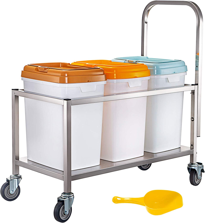 VEVOR Triple Ingredient Bin Cart 17
