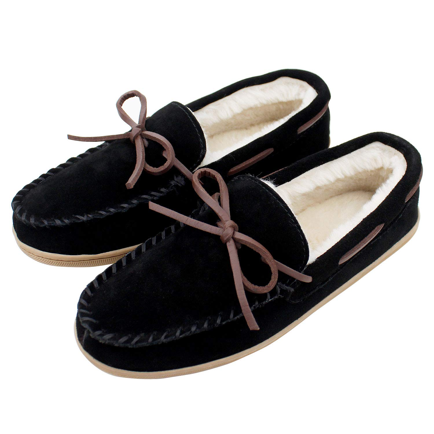 Moccasins Sheepskin Slippers for Men Memory Foam Breathable Ourdoor Indoor Suede Slip on House Shoes with Fuzzy Plush Faux Fur Lining Hoswo Mens Slippers
