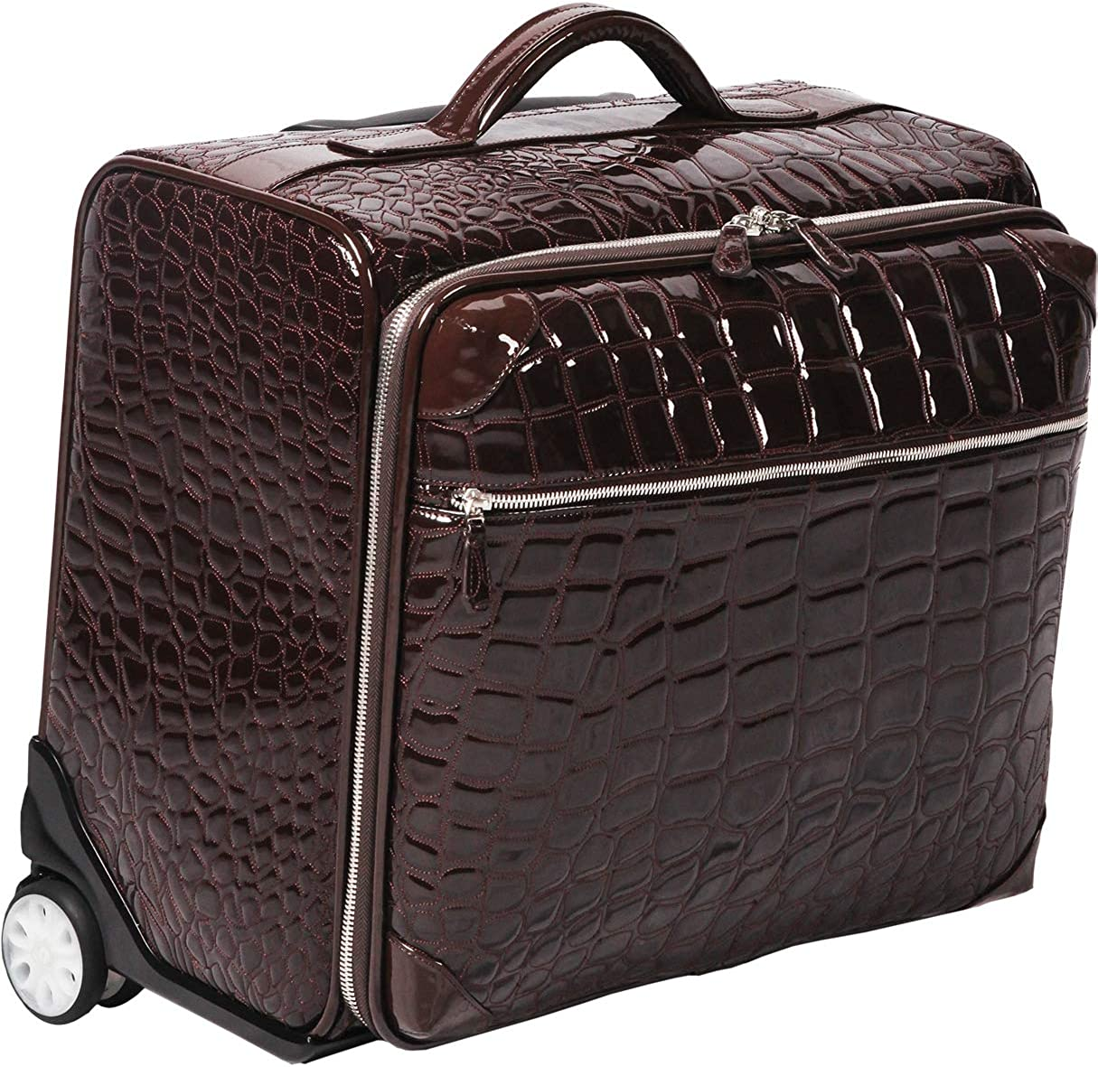 Ouul Alligator Embossed Faux Leather 18-inch Rolling Carry On Suitcase