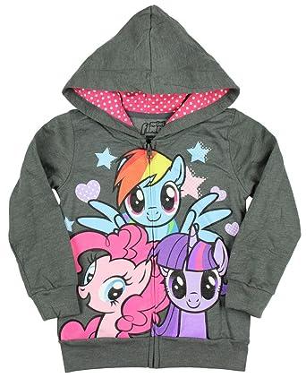 1936f42880da Amazon.com  Mini Fine My Little Pony Little Girls Grey Zip Up Hoodie ...