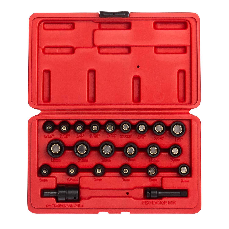 Sunex 1818, Juego de llaves de vaso magnéticas de 1/4 pulg., 23 piezas, SAE / métrico, 3/16 - 1/2, 5 mm-15 mm, acero Cr-Mo, estuche de almacenamiento de servicio pesado, incluye junta universal y 2 Extensión