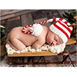 Bebé recién nacido fotografía apoyos niño Niña Crochet para adulto gorro de  larga cola de Navidad 2570110ed46